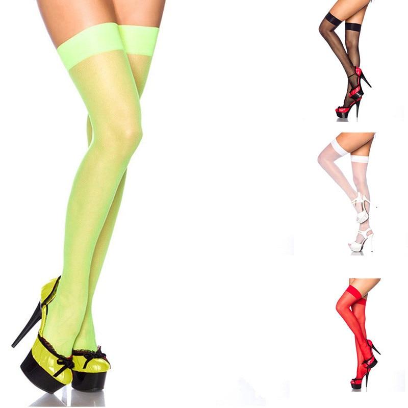 Thigh High Stocking Women Over Knee Socks Sexy Stocking Female Fishnet Transparent Black White Red Neon Green Stocking Long Sock