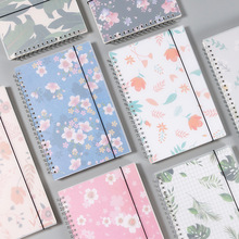 A5 Dotted Simple Cute Style Fresh floral PP Cover Silver Double Coil Ring Spiral Notebook Diary Blank Dot Grid Line Inside Paper a5 spiral book 50 sheets coil notebook lined dot blank grid paper dotted diary school supplies stationery store spiral journal