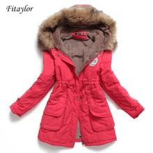 Fitaylor-Chaqueta de Invierno para mujer, prendas de vestir de largo y grueso con capucha, Abrigo acolchado de algodón, Parka ajustada