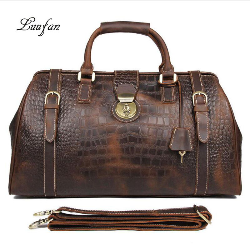 Luufan Vintage Genuine Leather Mens Travel Bag Big Capacity Crocodile Travel Duffle Bag Carry On Luggage