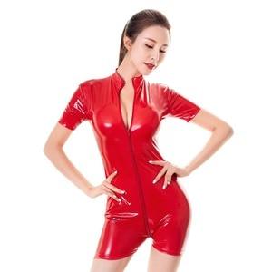 Image 4 - Latex Style Women Shiny Romper Sexy PVC Leather Jumpsuit Zipper Open Crotch Bodysuit Catsuit Mistress Fetish Costume