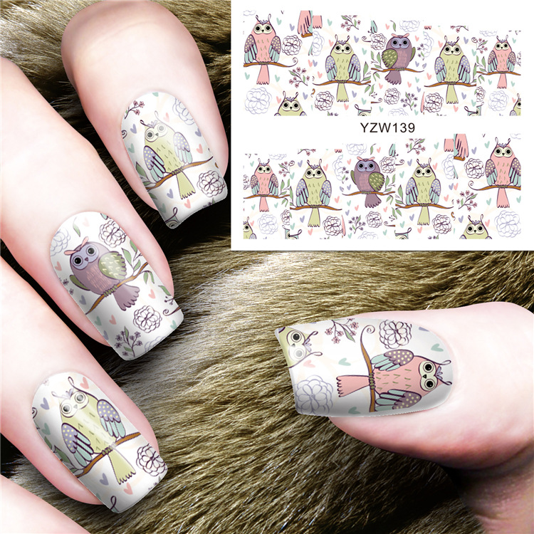 New Style Cartoon Nail Sticker Fashion Cute Owl Watermark Flower Stickers Nail Phototherapy DIY Adhesive Paper Accessories