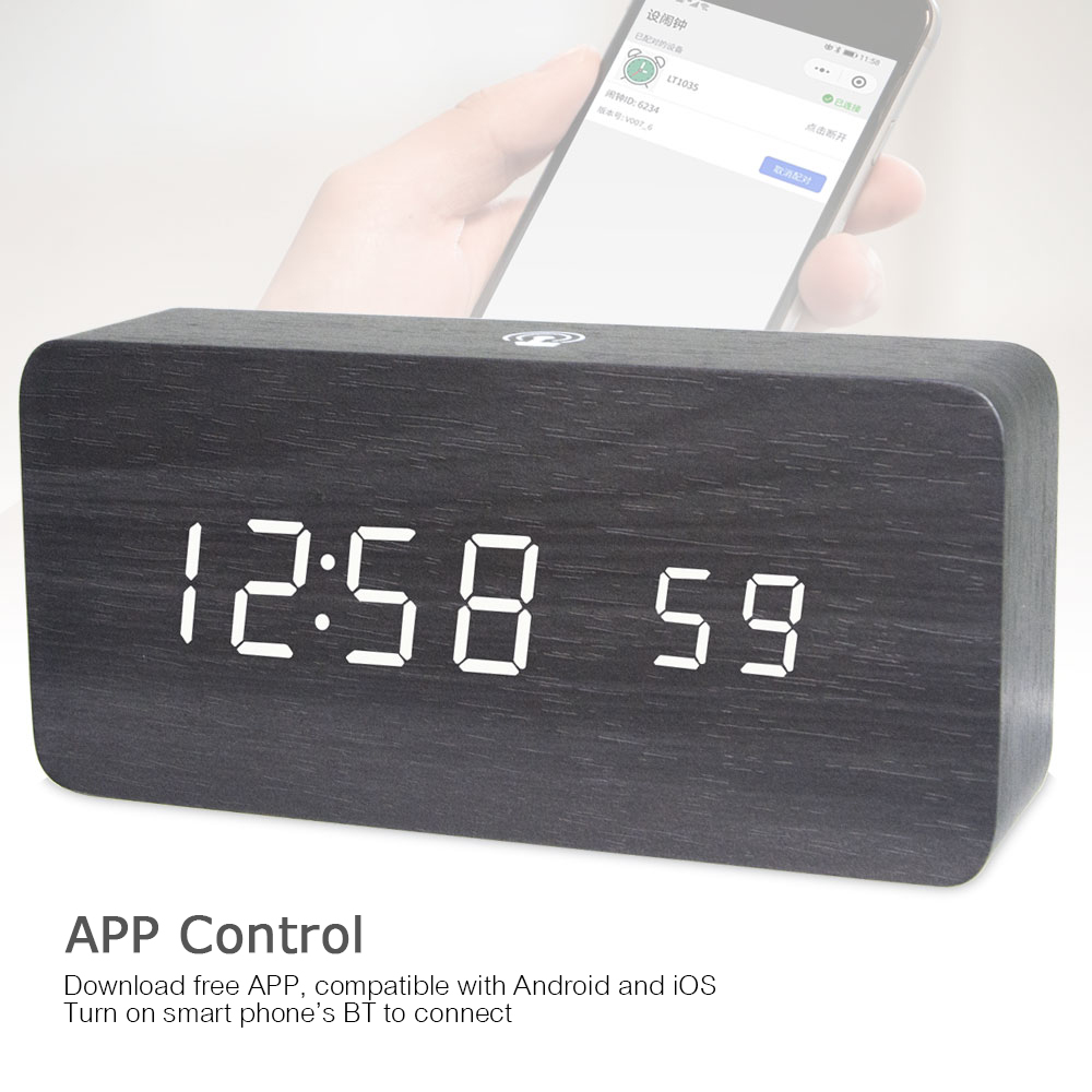 Led Wooden Alarm Clock Watch Table