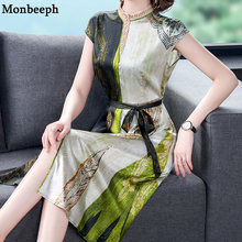 Monbeeph 2021 New Ladies Silk printing Round Neck Short Sleeve Dress Summer Women's thin slim Fashion OL Dresses