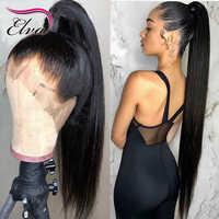 Elva frente de encaje de pelo pelucas de cabello humano pelucas con cordón delantero sin pegamento negro mujer sacó bebé pelo recto peluca Frontal de encaje