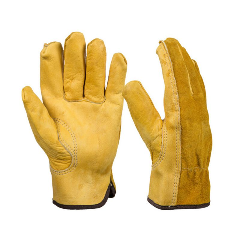 1 Pair Work Gloves Cowhide Security Protection Wear Welding Moto Hunting Gloves 3