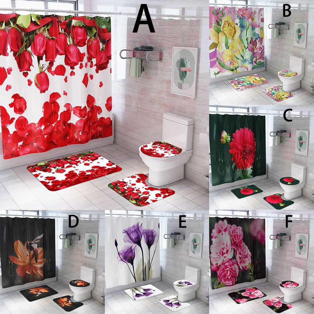 花のシャワーカーテン床マット 4 ピース浴室マットセット無害フランネル素材絶妙な印刷 #4