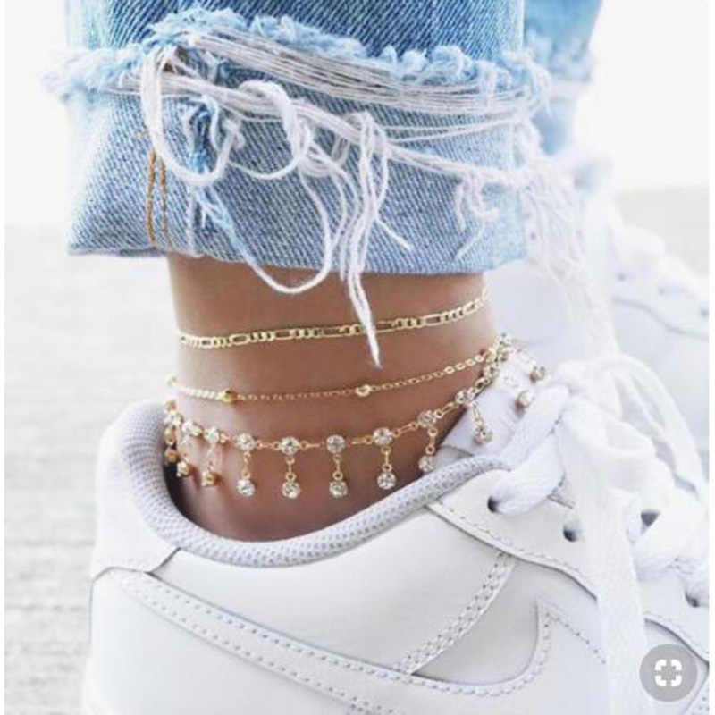 3 sztuk/zestaw klasyczne kobiety Anklet Tassel koralik z cyrkonią łańcuch złoty metal Anklets moda bransoletka na kostkę boso plaża biżuteria na stopy