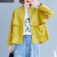 DIMANAF Women Bomber Jacket Coat Big Size Corduroy Thick 2019 Autumn Winter Vintage Female Outerwear Loose Long Sleeve Clothes