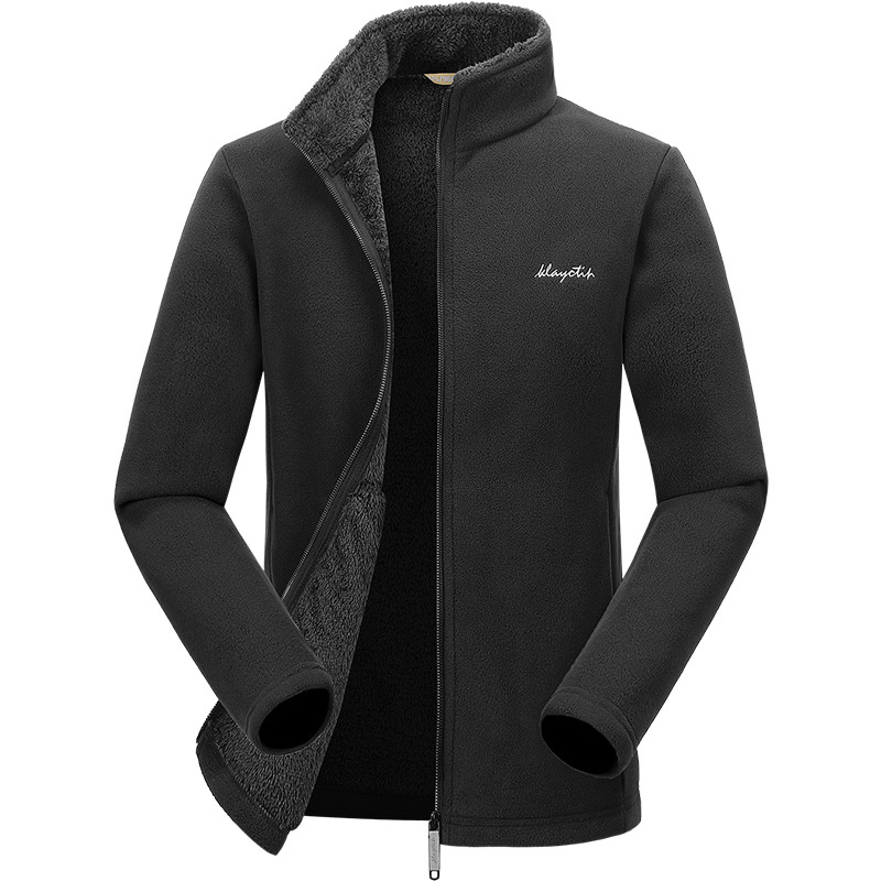 New Products Men's Double-sided Plush Warm Fleece Outdoor Sports Casual Winter Polar Fleece Cardigan Hoodie