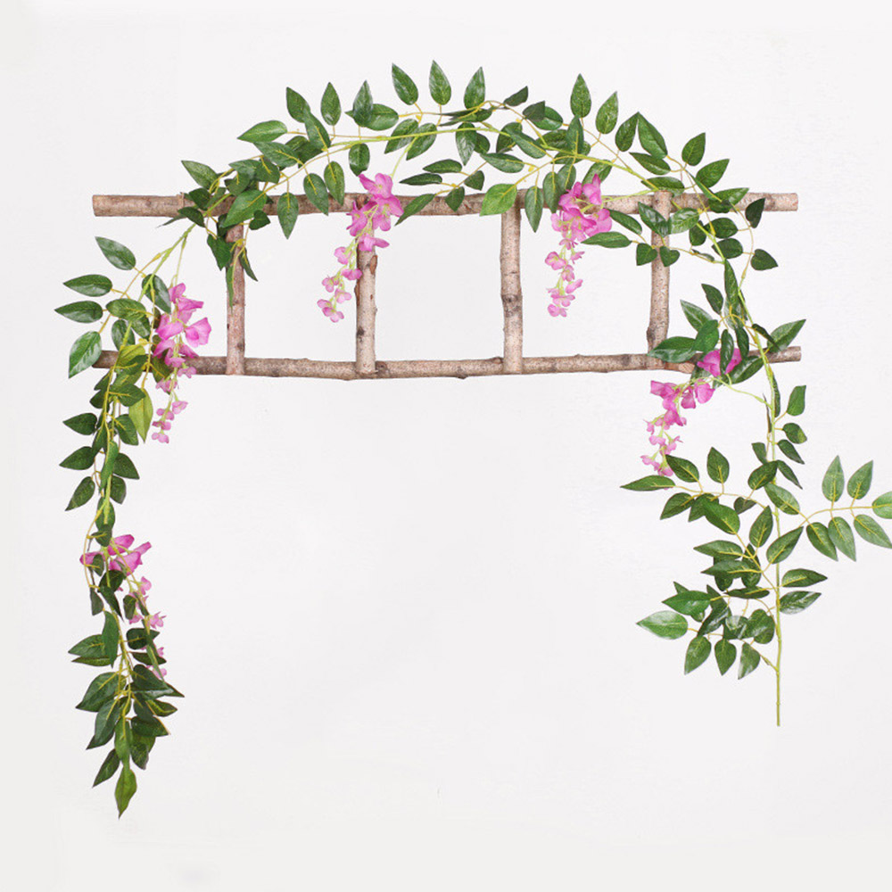 2M Flower String Artificial Wisteria Vine Garland Plants Foliage Wedding Arch Decoration Fake Flower Rattan Hanging Wall Decor 1