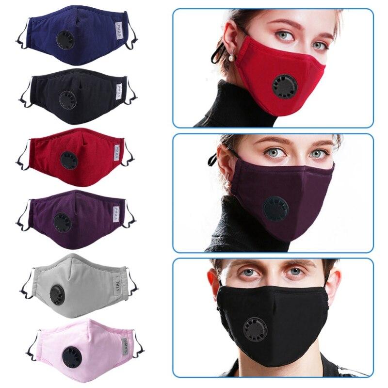 Маска для лица с дыхательным клапаном Пылезащитная маска PM 2,5 с фильтром из активированного угля респиратор Рот-муфельная