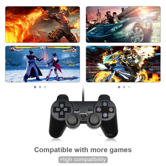 Wired USB Controller Gamepad For WinXP/Win7/Win8/Win10 For PC Computer Laptop Black Game Joystick 4