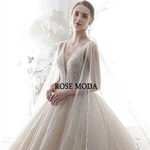 Image 5 - Женское свадебное платье с длинным шлейфом, роскошное блестящее платье розового цвета с глубоким V образным вырезом, 2020