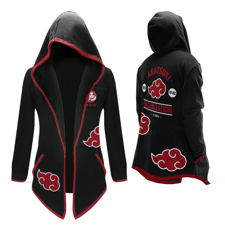 Anime NARUTO Akatsuki Cosplay Costumes Uchiha Itachi Trench Jumpsuits Cloak Hooded Thicken Cardigan Sweatshirt Hoodies Jackets