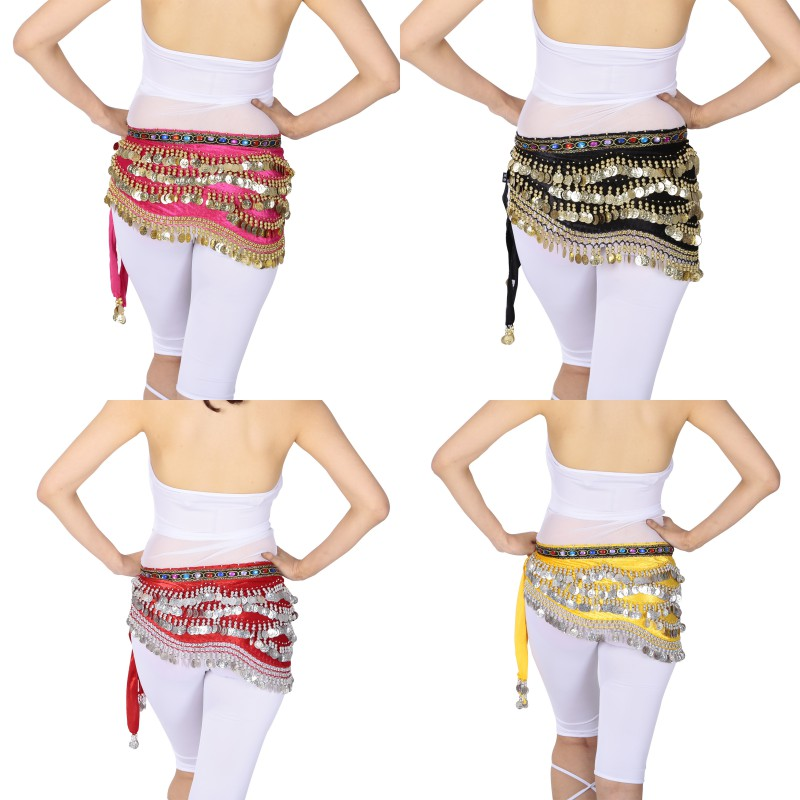 New Oriental/Indian Belly Dance Coin Belt BellyDance Hip Scarf Golden Coins Belly Dance Costume Accessories Dancing Coin Belt