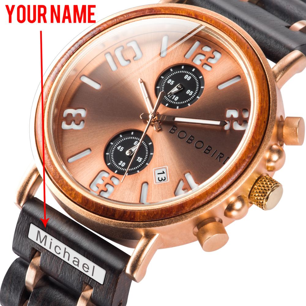 Engraving your name Customized Watch BOBOBIRD Men Wood Wrist Watches Luminous Hand Gold Business Chronograph Waterproof V-S26