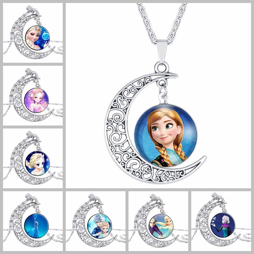 Disney 8 Models Cartoon Children Necklace Bow Doll Accessories Girl Birthday Gift Cosmetic Sweater Jewelry Diy Arts And Crafts