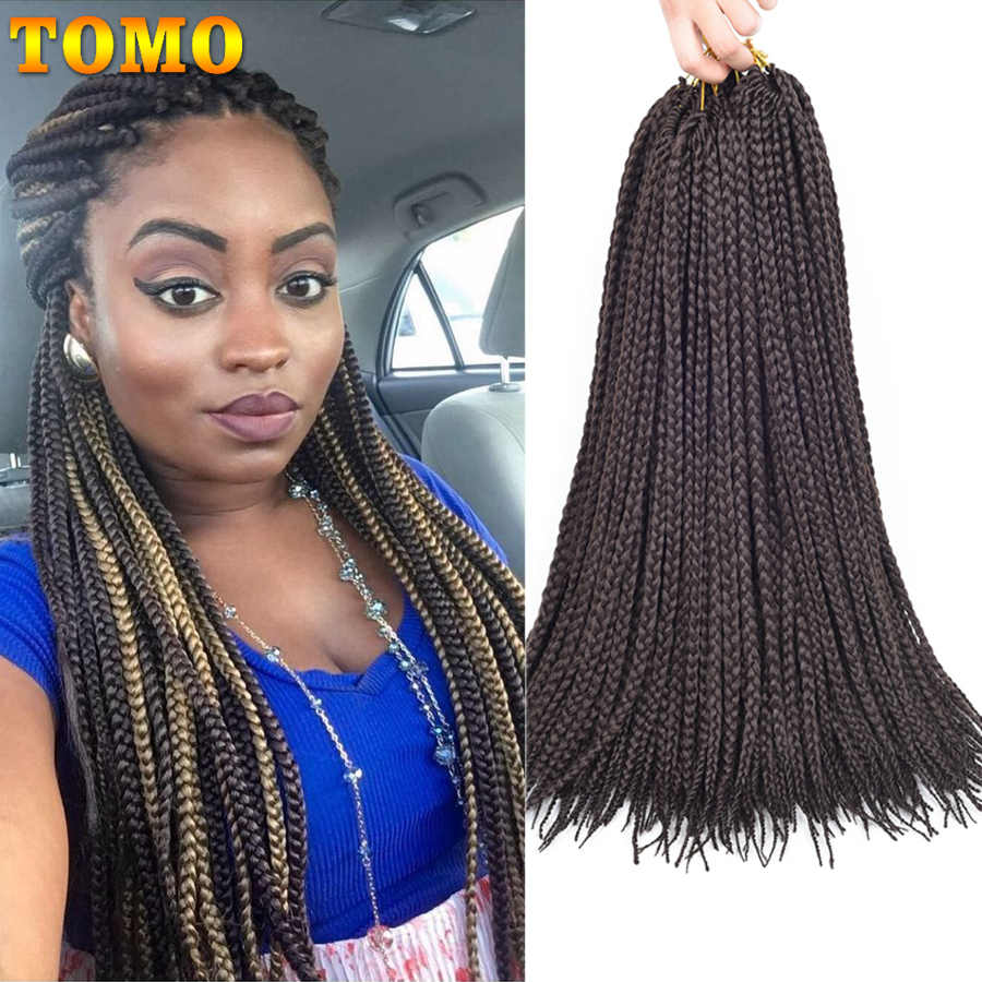 "TOMO 14"" 18"" 22"" Long Crochet Box Braiding Hair Ombre Brown Synthetic Crochet Braids Twist Hair Extensions 22Roots For Women Kid"