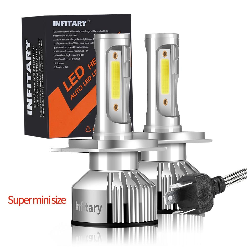 Infitary 2Pcs COB Car H7 Led Headlight H4 H1 H3 H11 H13 9004 9005 9006 9007 Lamps 10000LM 3000K 4500K 6500K Mini Auto Light
