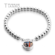Simple 925 sterling silver 4mm ball bead bracelet natural white shell round lock girl customizable jewellery