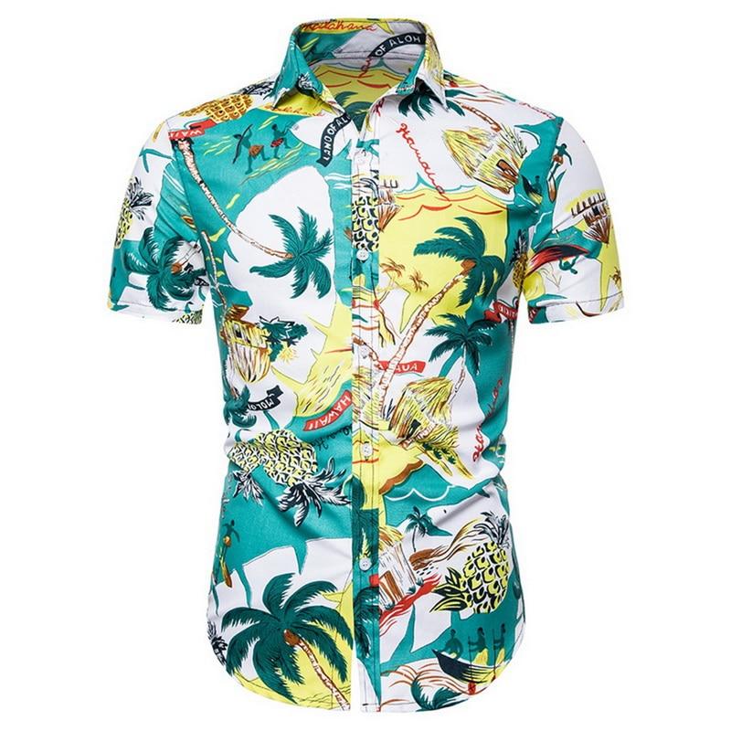 Men Fashion Print Shirts Casual Button Down Short Sleeve Hawaiian Shirt Beach Holiday Slim Fit Party Shirts Tops