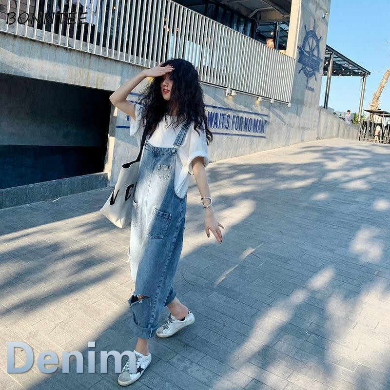 Jumpsuits Women Streetwear Hole Solid Denim Straight Korean Style Chic Leisure All-match Ulzzang Womens Ankle-length New Casual