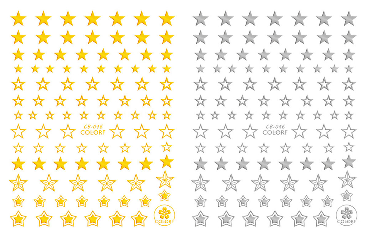 CB040-046 New Style Gold And Silver Black And White DIY3D Nail Sticker Cartoon Lettered Manicure Flower Stickers