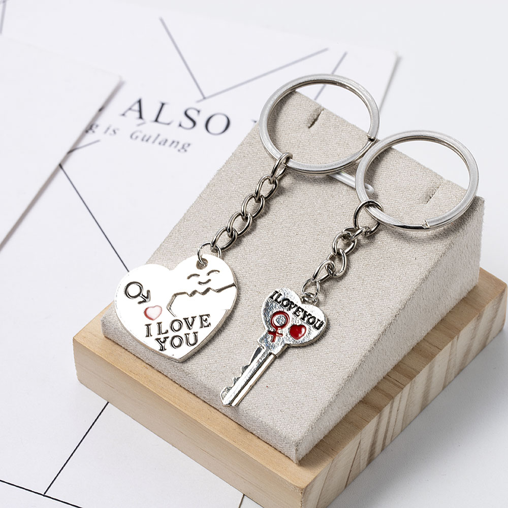 2020 NEW Plated Couple Lover Keychain Jewelry Heart Keyring Love Key Chain Holder Rings For Women Men Romantic Birthday Gift