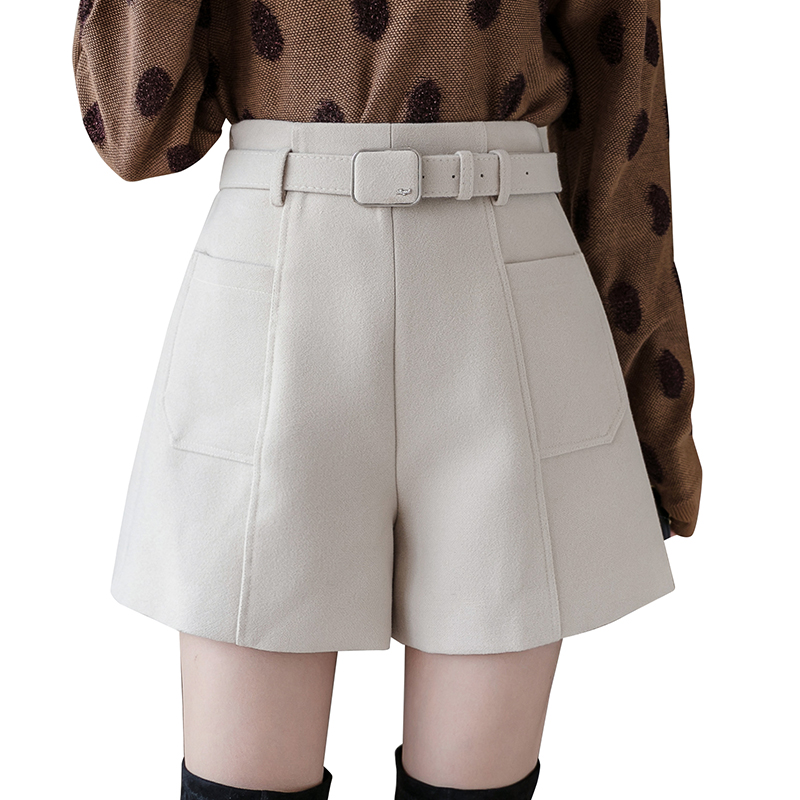 Plus Size Winter Shorts Women New Woolen Shorts Wide Leg A-Line Shorts Outer Boots Trouser With Belt High Waist Shorts Midi Girl