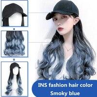 Fashion Wig Baseball Cap Women Long Wave Wig For Women Female Snapback Hip Hop Hat gorras