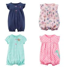 Fashion Cute New Born Baby Clothes Cotton Girl Short Sleeve Romper Playsuit Outfit Striped Spots
