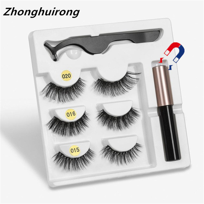 Makeup 3 Pairs Of Magnetic Eyelashes + Liquid Eyeliner + Tweezers, Waterproof Long Lasting Eyelash Extension Eyelash Set