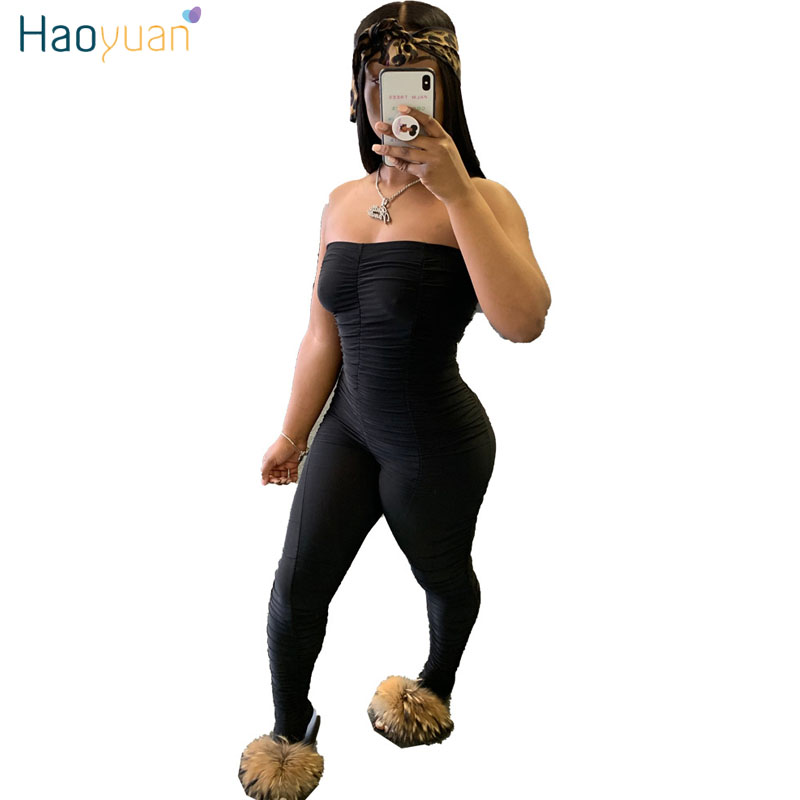 HAOYUAN Sexy Bodycon Tube Jumpsuit Women Summer Off Shoulder Backless Body Rompers Overalls Ruched Leggings Pants Club Outfits