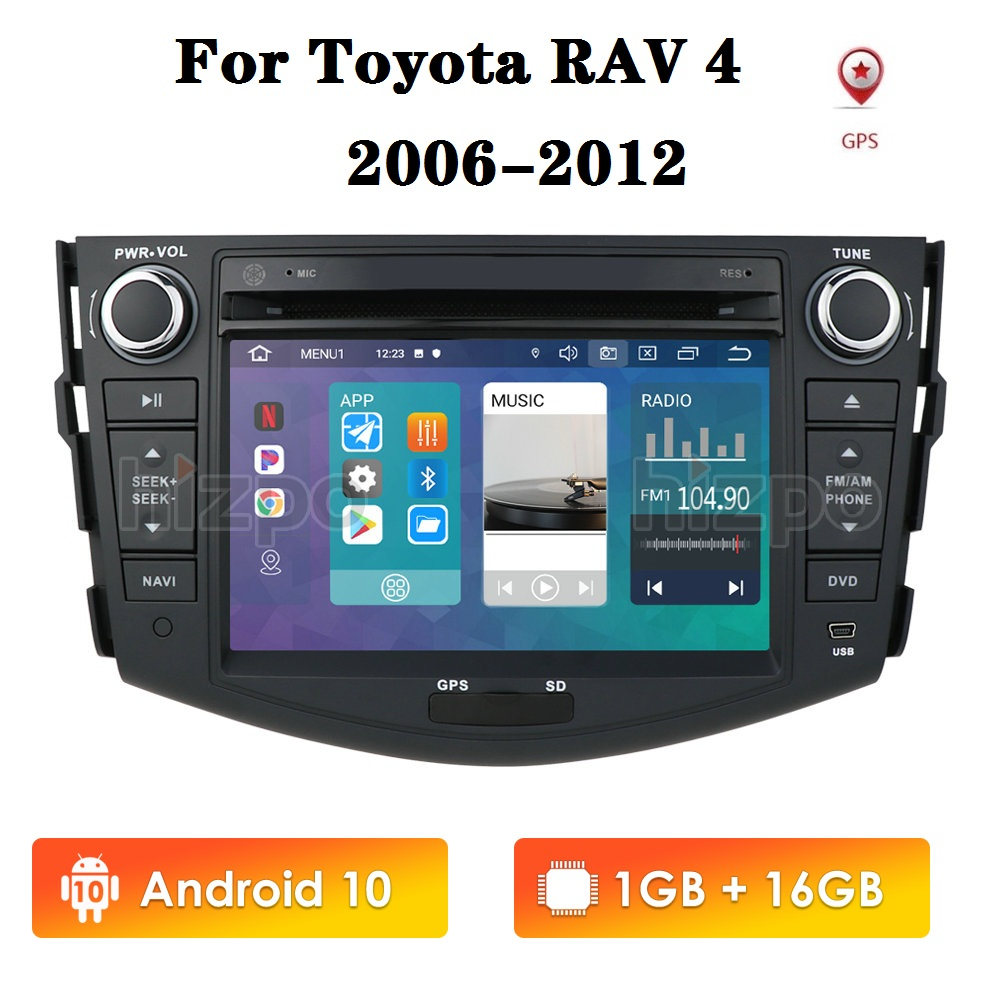 7 Inch Android 10 2din Car Radio DVD for Toyota RAV4 2006 2007 2008 2009 2010 2011 2012 GPS Navigation Multimedia Player image