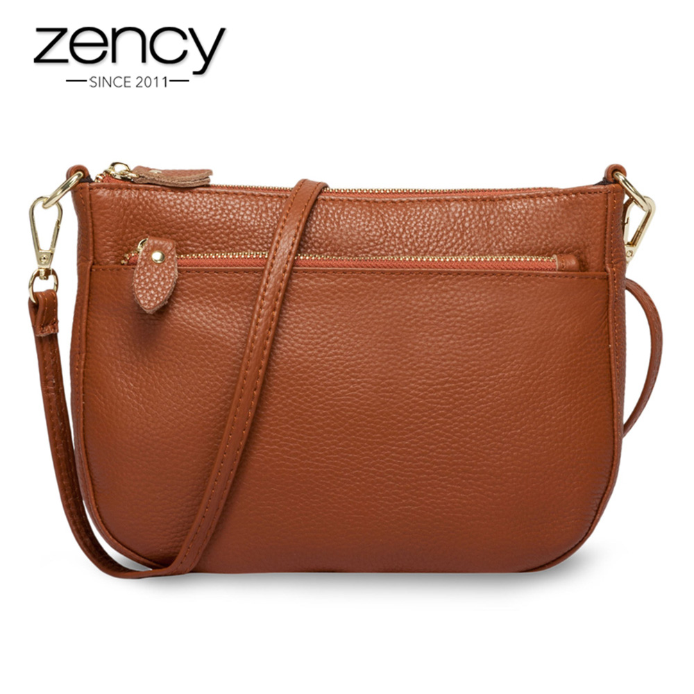 Zency Fashion Women Crossbody Bag 100% Genuine Leather Brown Handbag Small Flap Bags Simple Lady Shoulder Purse Messenger