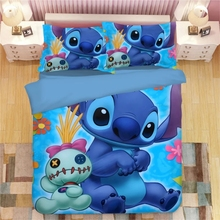 Disney Lilo & Stitch Cartoon Bedding Set Children's Bedroom Decoration Cartoon Down Duvet Quilt Cover Pillowcase Home Textile