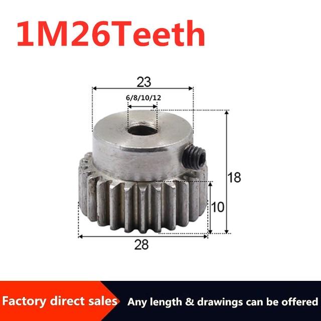 1 pièces 1M 26 dents module engrenage 6/8/10/12mm engrenages de réduction module engrenage bricolage Micro moteur pièces de Transmission boîte de vitesses pièces daccouplement