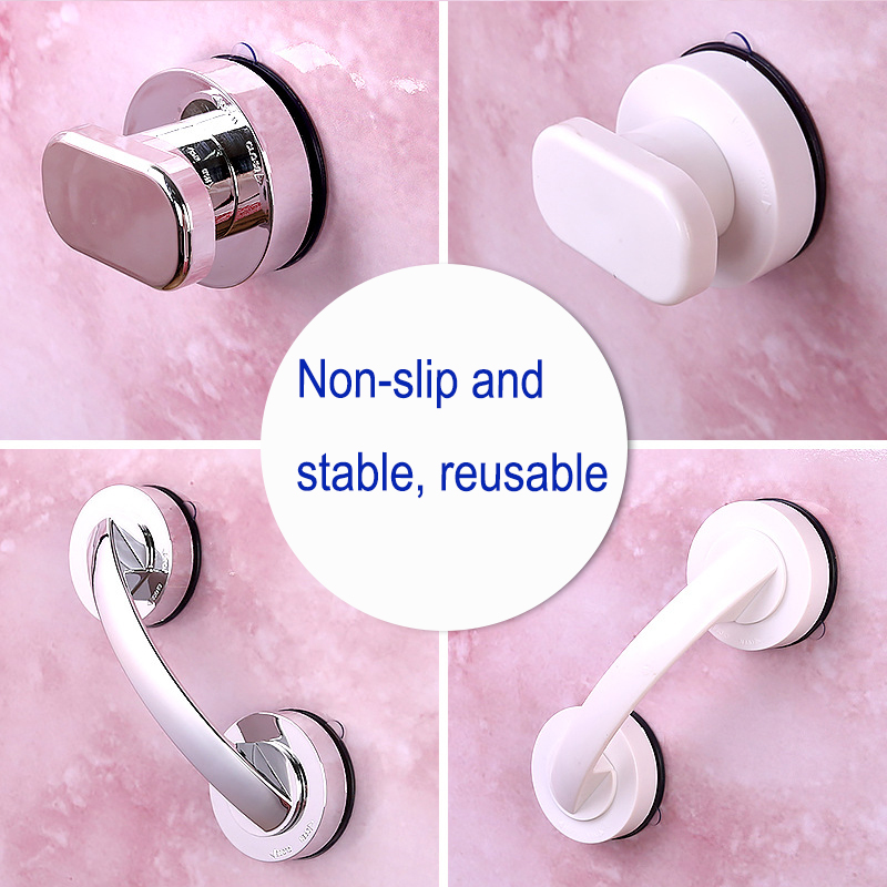 No Drilling Shower Handle Offers Safe Grip With Suction Cup For Safety Grab In Bathroom Bathtub Glass Door Anti-slip Handrail