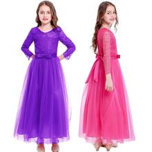 Tulle Long Wedding Bridesmaid Dresses for Kids Girls Birthday Gown Princess Dress Photography Props Elegant Girls Party Dress цена и фото