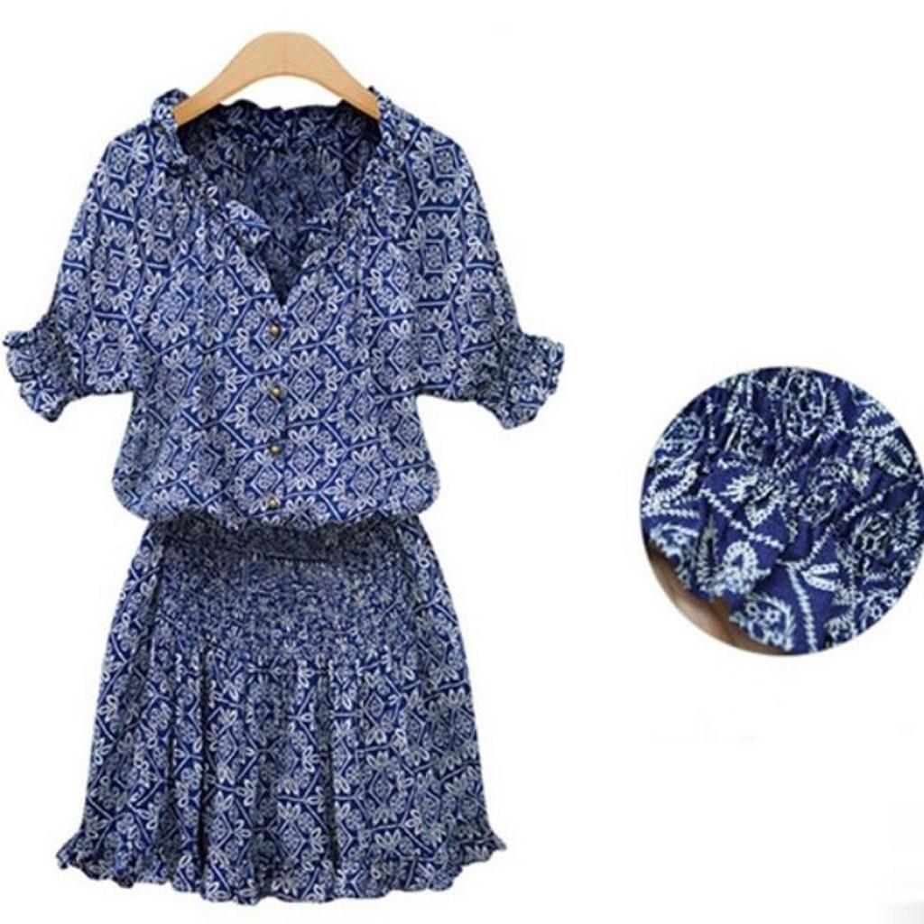 vestido de mujer Women Summer Floral Print V neckline Casual Short Sleeve Mini Dress femme robe
