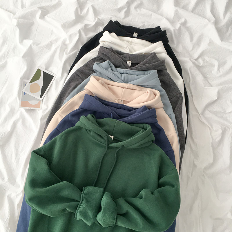 Velvet Thickened Hooded Sweatshirt Women Casual Solid Long Sleeve Loose Pullover Tops Female Harajuku Green Blue Autumn Hoodies(China)