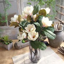 Głowa magnolia podłoga sztuczne kwiaty sztuczne sztuczne kwiaty liść Magnolia kwiaty na ślub bukiet dekoracje na domowe przyjęcie tanie tanio Suszone kwiaty Kwiat Oddział New Year Velvet