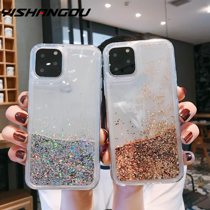YISHANGOU Bling Liquid Quicksand Phone Case For iPhone 11 Pro Max 7 8 Plus Shiny Stars PC+ TPU Glitter Cover For iPhone XS XR 6s