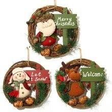 Рождественский венок из ротанга, гирлянда с плюшевыми куклами, Санта Клаус/Снеговик/олень, подвесной кулон для украшения двери, стены, окна