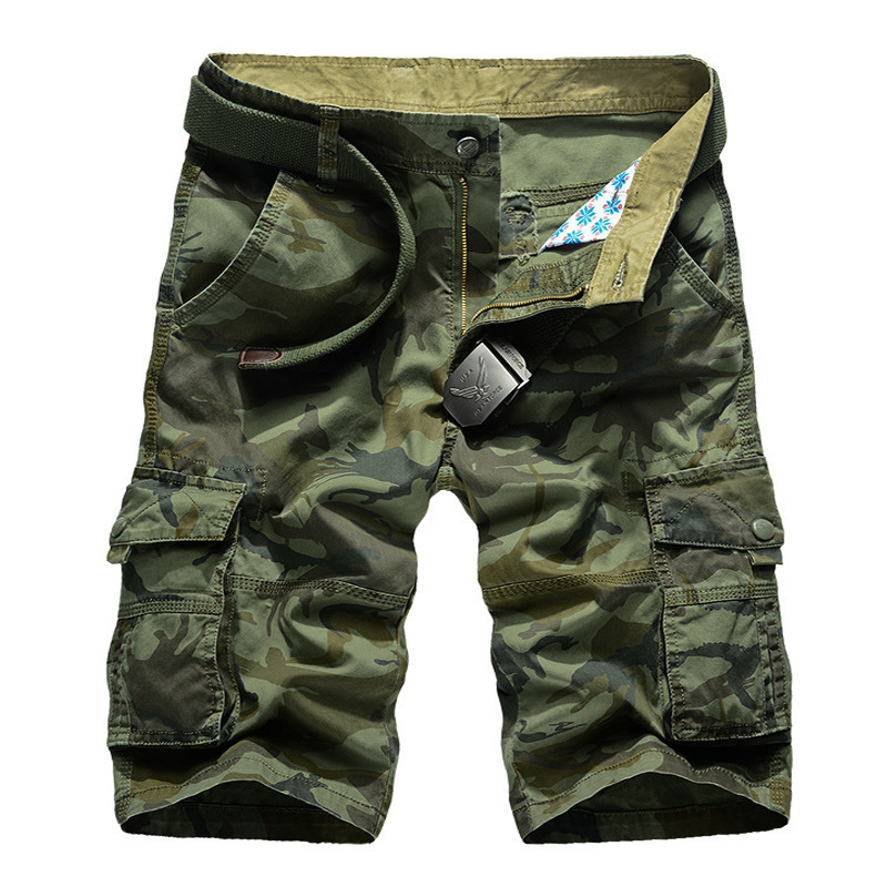 Summer Hot Selling Camouflage Multi-pockets Beach Shorts Straight-Cut Pure Cotton Large Size MEN'S Overalls