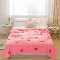 Клубничное покрывало одеяло 200x230 см высокой плотности супер мягкое фланелевое одеяло для дивана/кровати/автомобиля портативные пледы