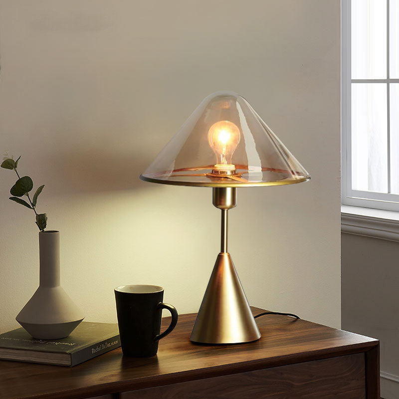 contracted Nordic glass mushroom cloud of desk lamp American stylist decorate desk lamp of bedroom the head of a bed