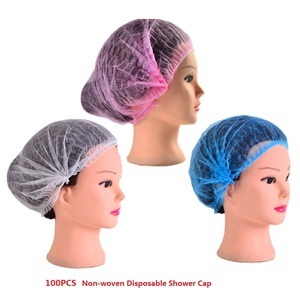 100PCS Non-woven Disposable Shower Cap Pleated Anti Water Dust Hat Bathing Spa Hair Salon Beauty Dental Clinic Food Processing(China)