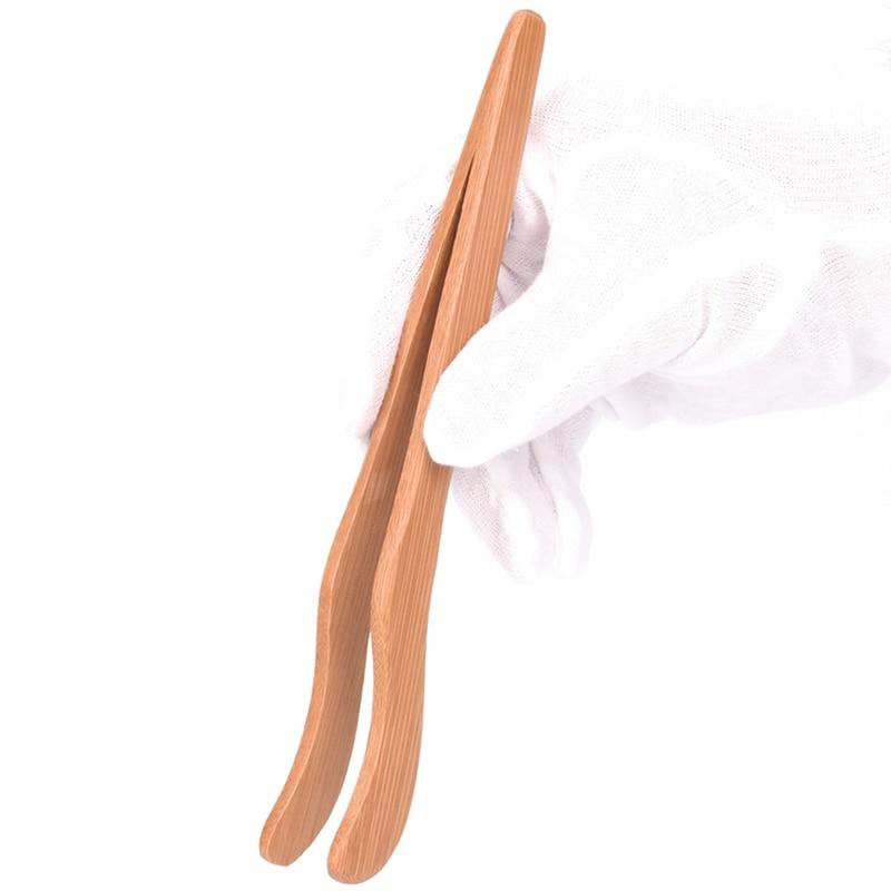 Bamboo Tea Cup Clip Tweezers Wooden Bread Bacon Sugar Ice Food Clip Kitchen Tool